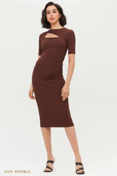 Базовая трикотажная юбка-карандаш 1254101206