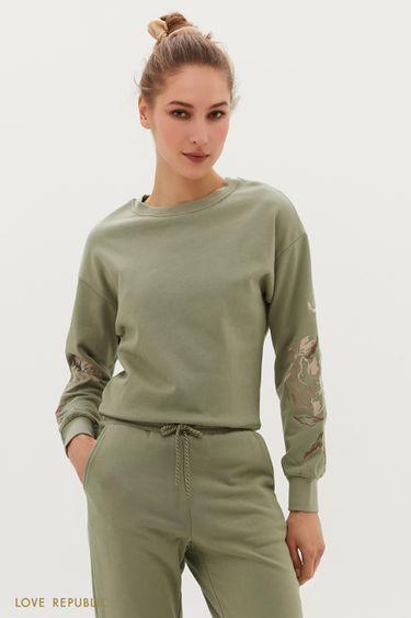 Oversize свитшот с вышивкой 1254108325