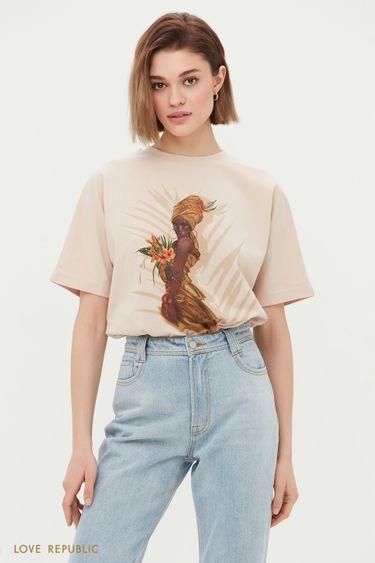Oversize футболка бежевого цвета с принтом 1254139364