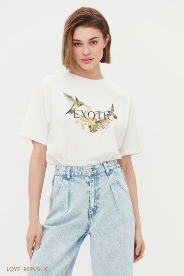 Oversize футболка с цветочным принтом 1254140365