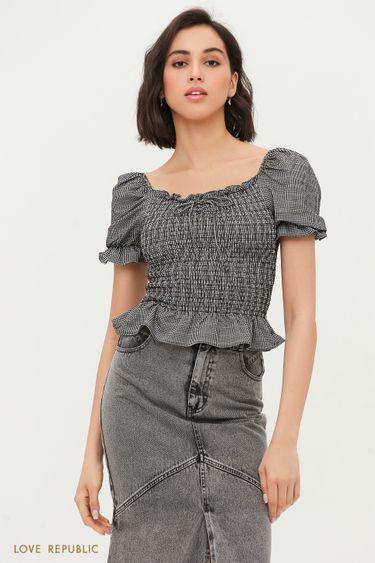 Блузка с вафельной резинкой 1254150393