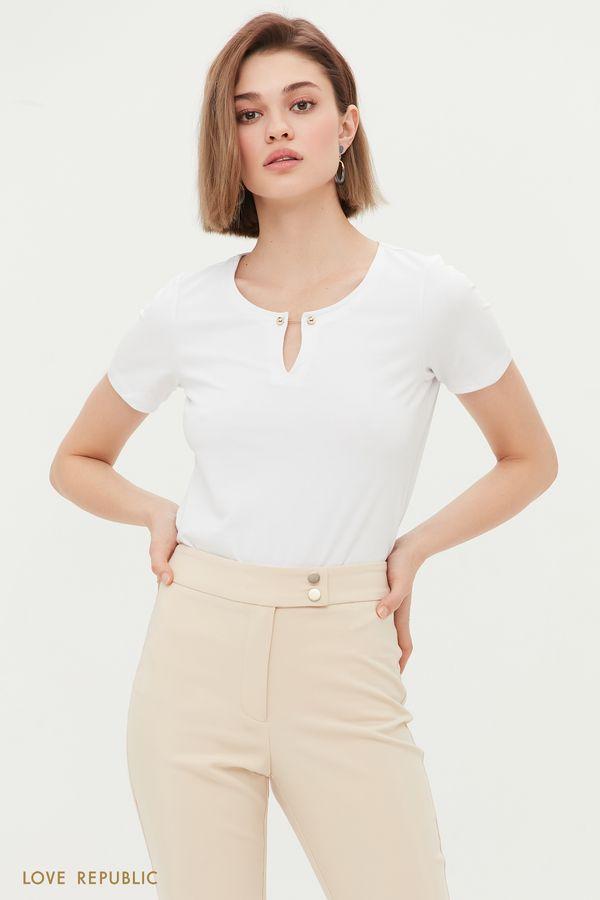 Базовая футболка с декором 1254106323-50