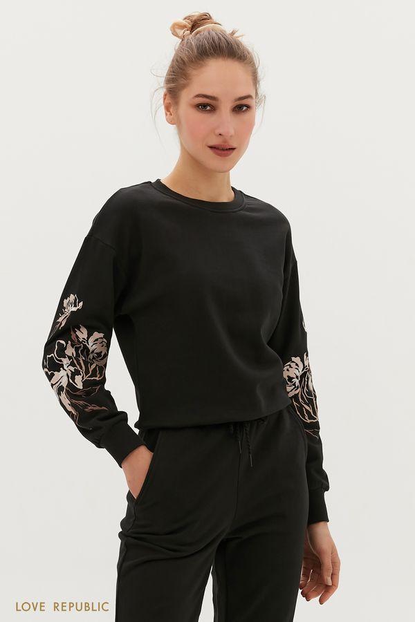 Oversize свитшот с вышивкой 1254108325-50