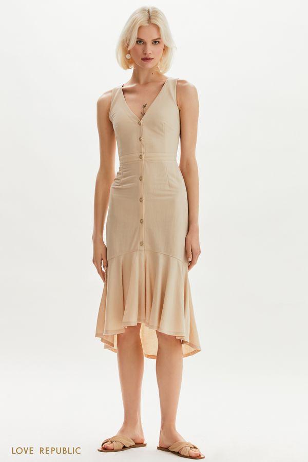 Асимметричное платье длины миди 1254109579-66