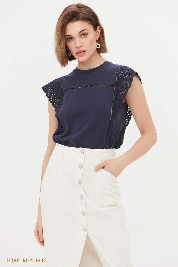 Блузка с перфорацией 1254136361-50