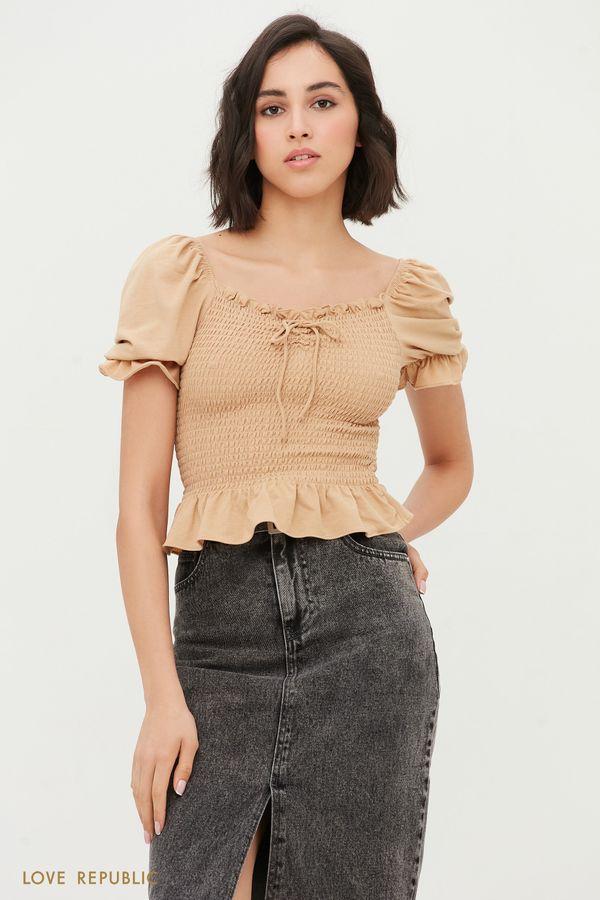 Блузка с вафельной резинкой 1254150393-62