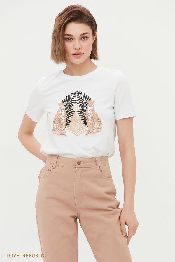 Белая футболка с анималистичным принтом 1254152395-1