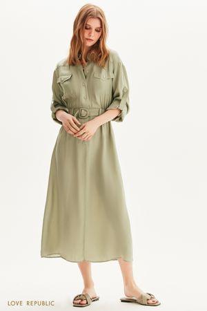 Платье-рубашка с поясом на резинке