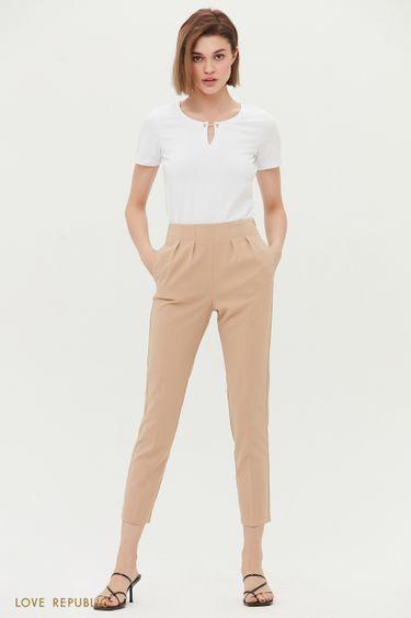 Зауженные брюки с защипами 1254206706
