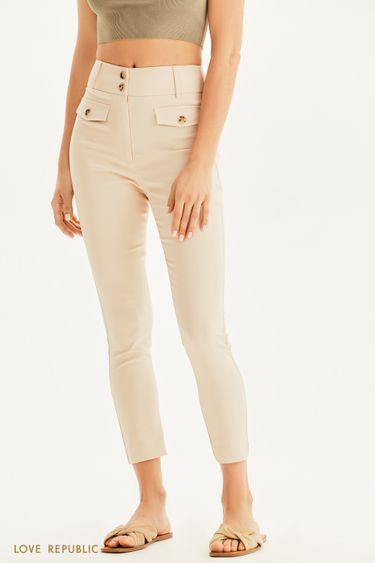 Облегающие брюки кремового цвета 1254207747