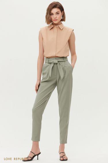 Укороченные костюмные брюки-бананы с поясом 1254214722