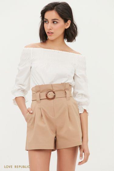 Короткие шорты с поясом и защипами 1254232739