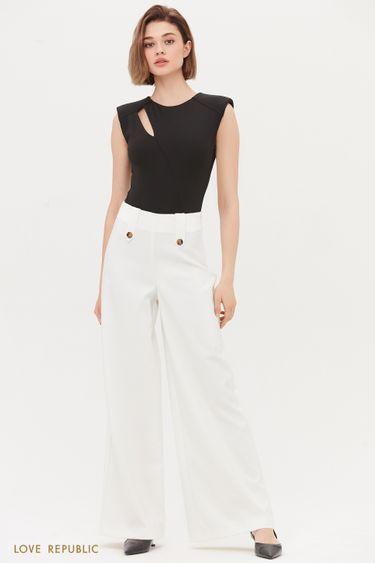 Широкие брюки с декоративными пуговицами 1254234765