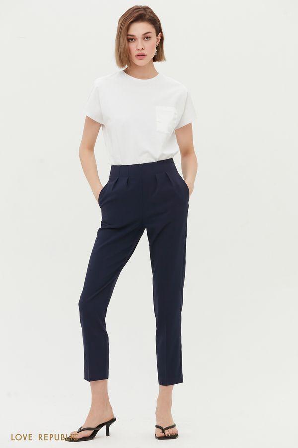 Зауженные брюки с защипами 1254206706-60