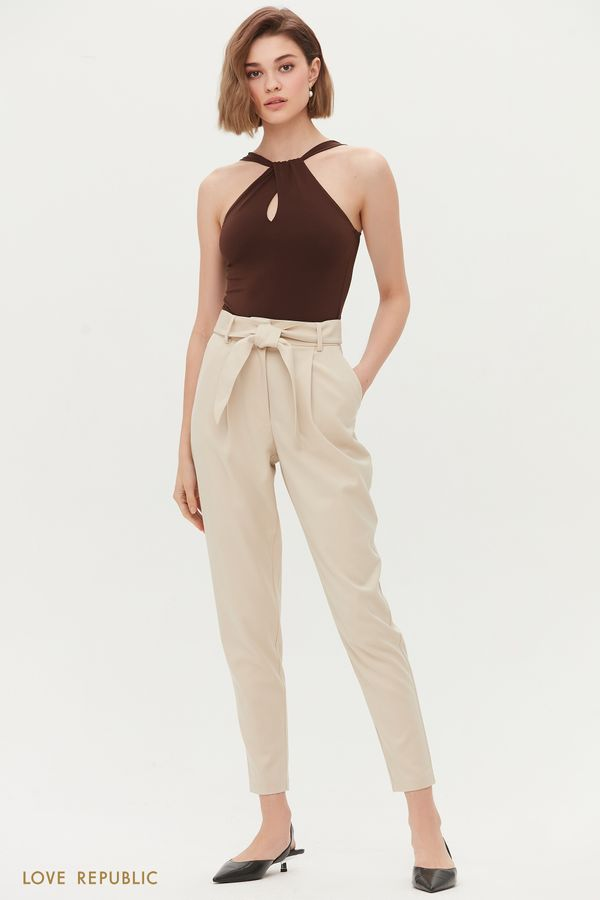 Укороченные брюки с поясом 1254214722-61