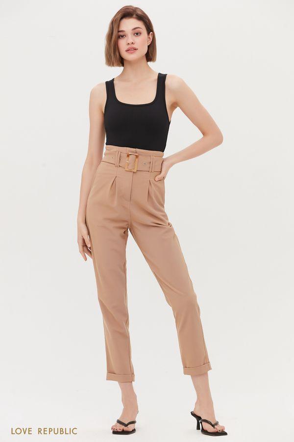 Прямые брюки с акцентным поясом 1254225707-50
