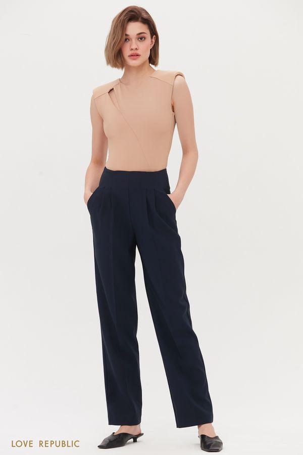 Прямые базовые брюки на высокой посадке 1254234742-60