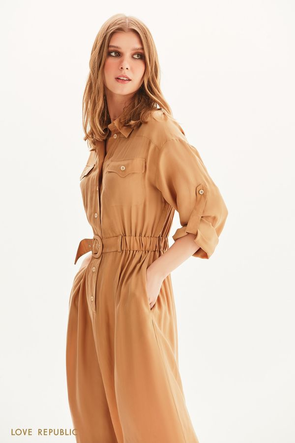 Платье-рубашка с поясом на резинке 1254237560-63