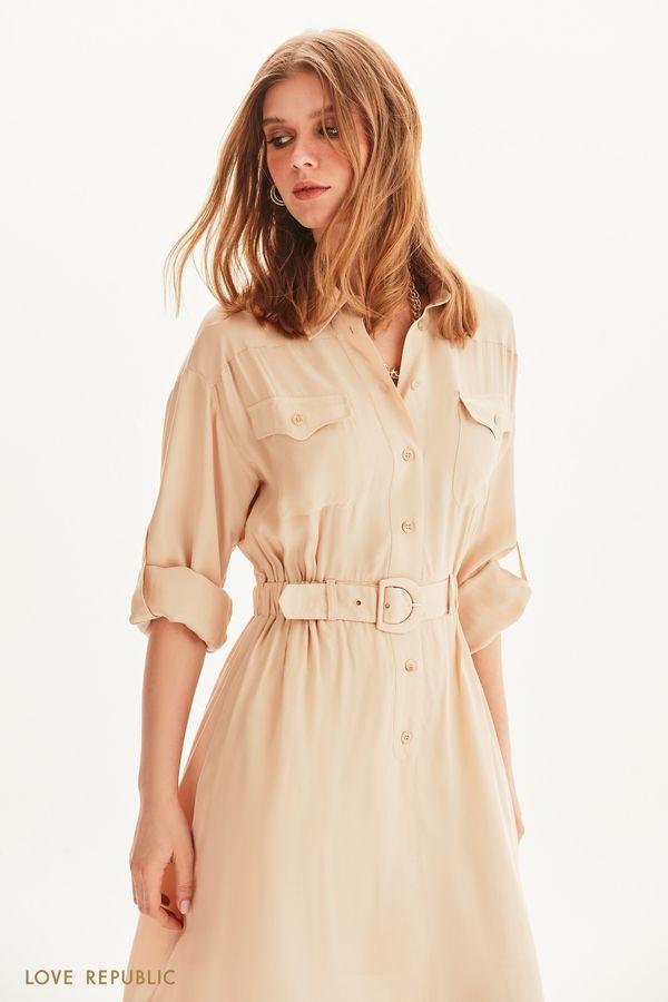 Платье-рубашка с поясом на резинке 1254237586-61