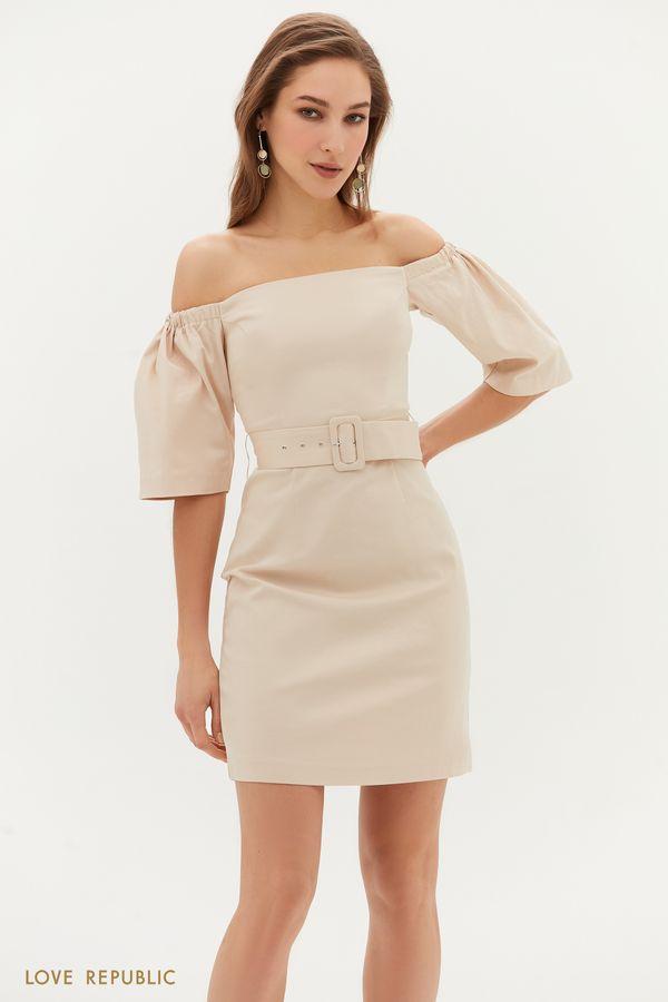 Кремовое платье с открытыми плечами 1254242563-61