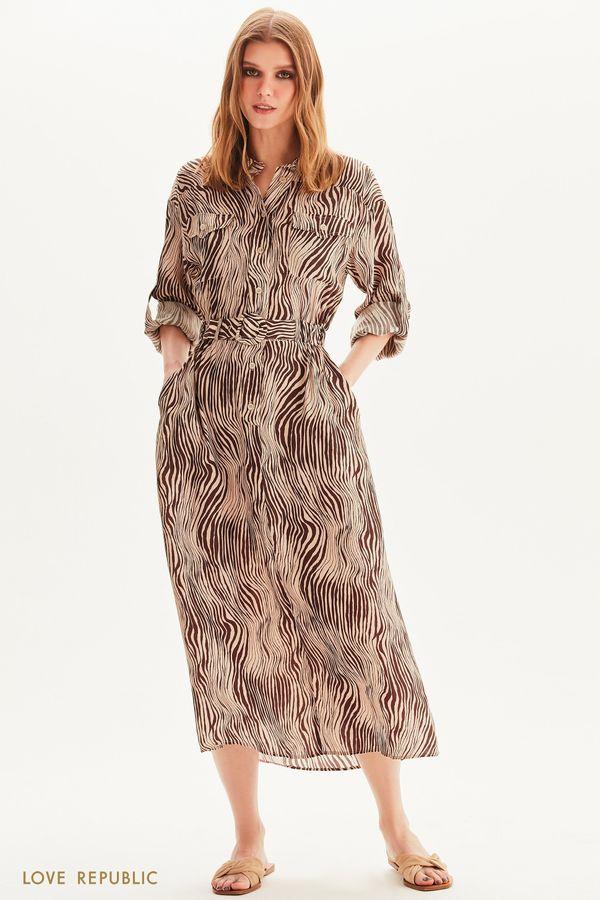 Платье-рубашка с поясом на резинке 1254252560-65