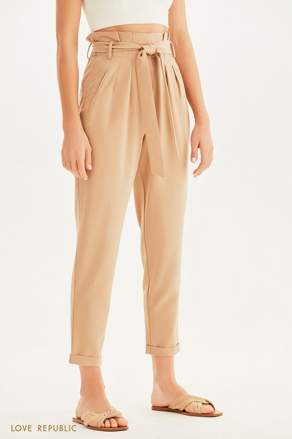 Укороченные брюки с высокой посадкой 1254263769-21