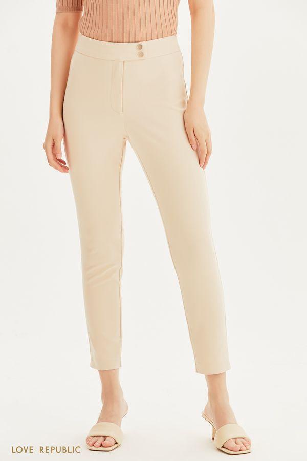 Зауженные брюки с высокой посадкой 1254284772-13