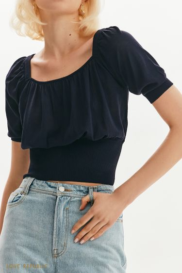 Трикотажная блузка со сборками 1254309805