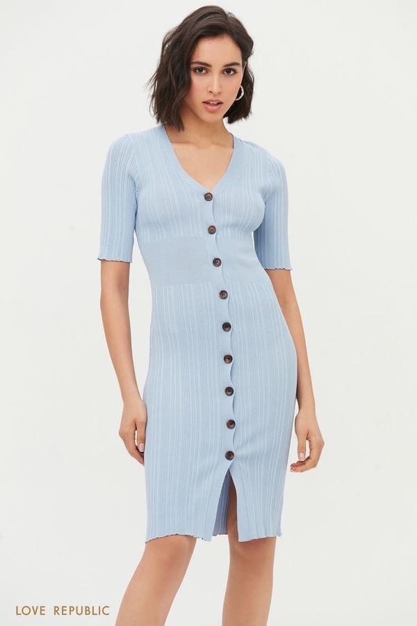 Платье-лапша с коротким рукавом на пуговицах 1254310575-41