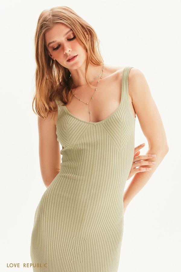 Платье миди в рубчик 1254321580-13