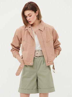 Джинсовая куртка с поясом