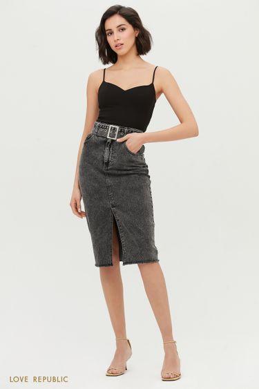 Джинсовая юбка-карандаш с поясом 1254434214