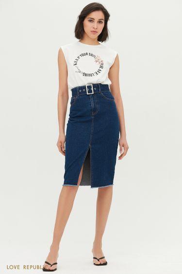 Джинсовая юбка с поясом 1254435214