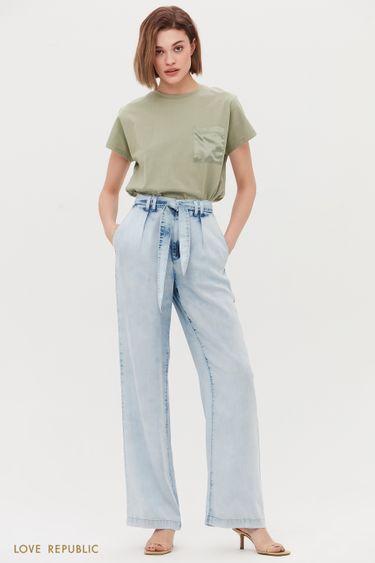 Широкие брюки в джинсовом стиле 1254445755