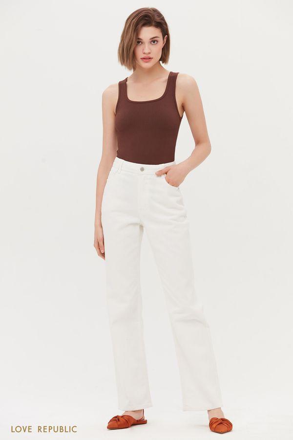Прямые джинсы с высокой посадкой 1254437750-60
