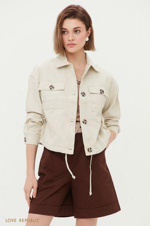 Укороченная куртка в стиле сафари