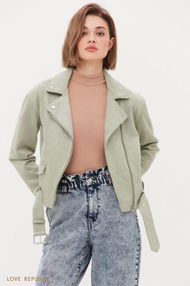 Куртка-косуха из искусственной замши цвета хаки 1254509102