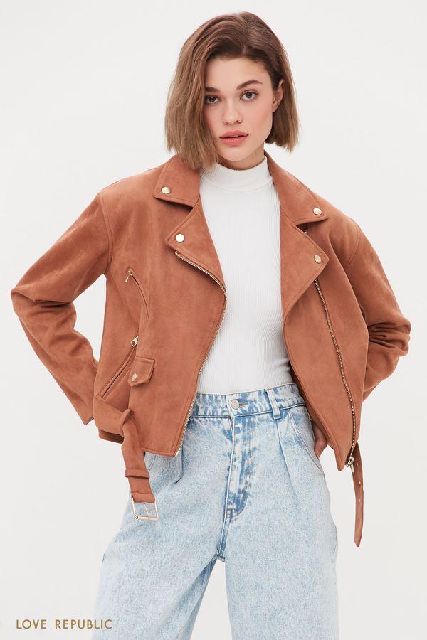 Куртка-косуха из искусственной замши песочного цвета 1254502102-63