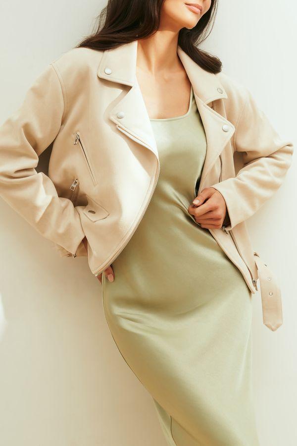 Куртка-косуха из искусственной замши молочного цвета 1254510102-61
