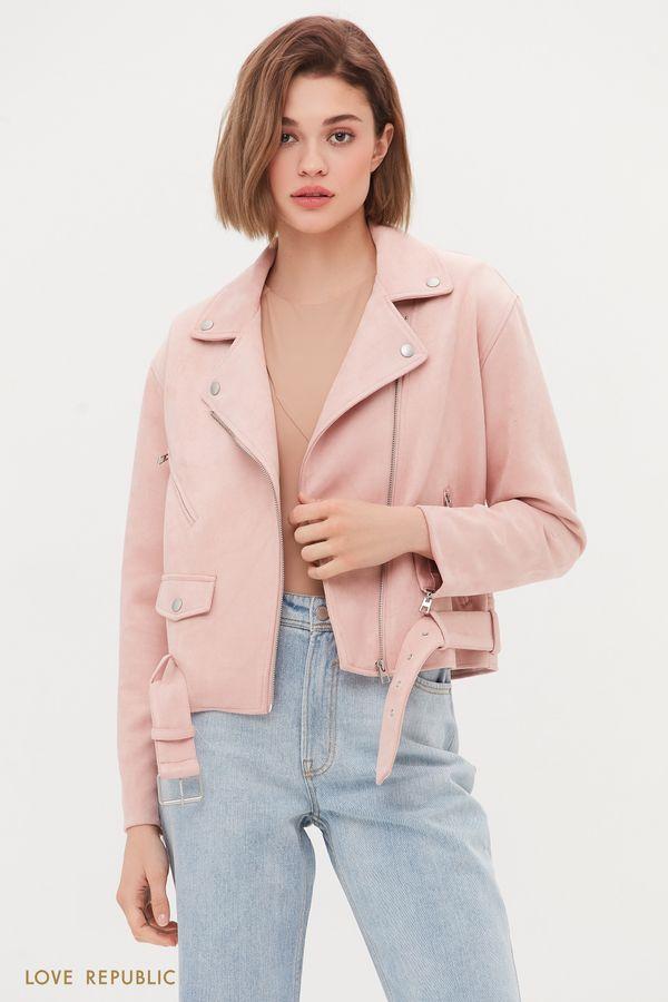 Куртка-косуха из искусственной замши пудрового оттенка 1254511102-92