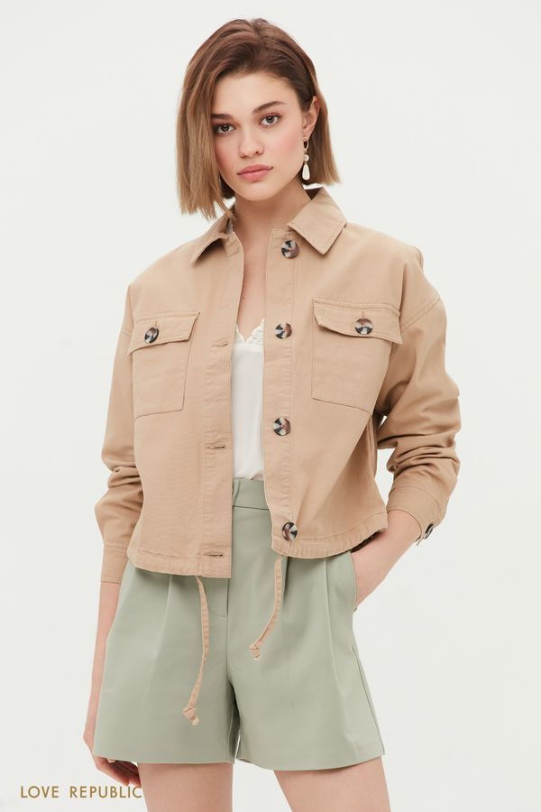 Укороченная куртка в стиле сафари 1254514104-62