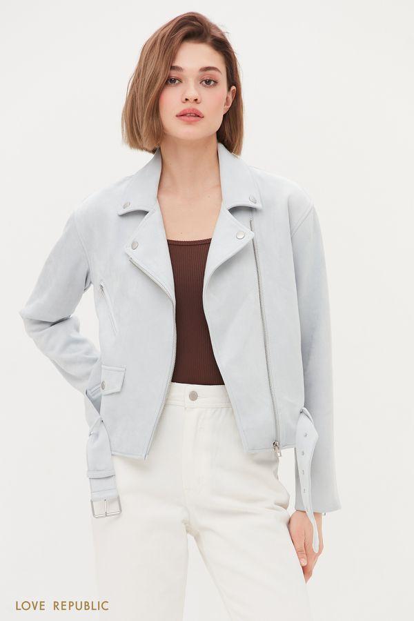 Куртка-косуха из искусственной замши голубого цвета 1254516102-41