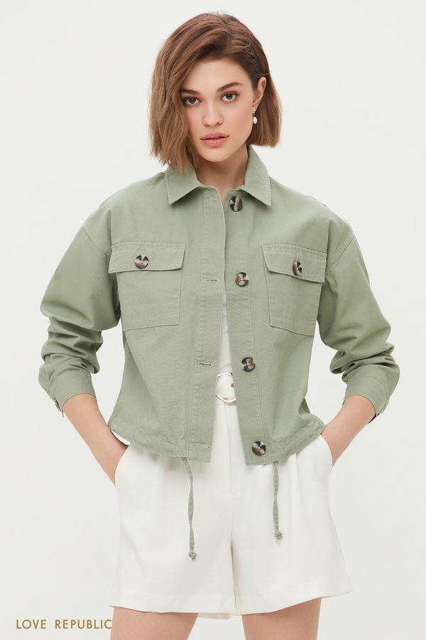 Укороченная куртка в стиле сафари 1254517104-13