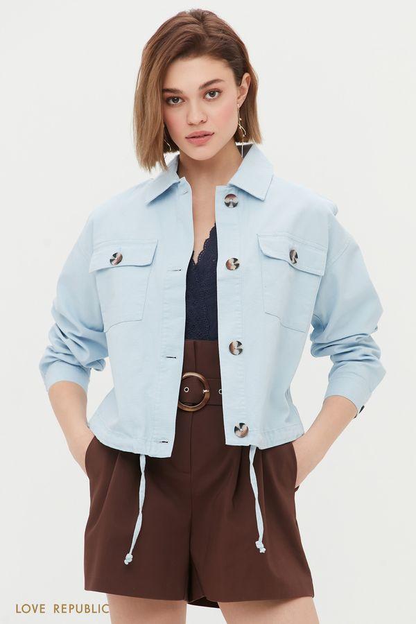Укороченная куртка в стиле сафари 1254518104-41