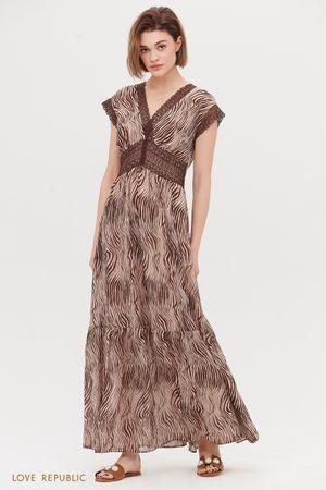 Платье макси с кружевом ришелье и анималистичным принтом