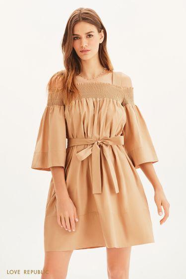 Платье свободного кроя с вафельной резинкой 1255001503