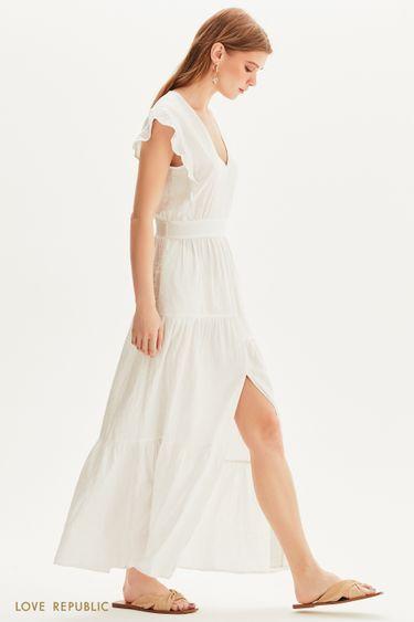 Платье макси с ярусным подолом 1255003509