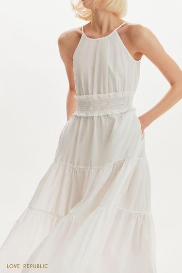 Платье макси с акцентной юбкой 1255004510