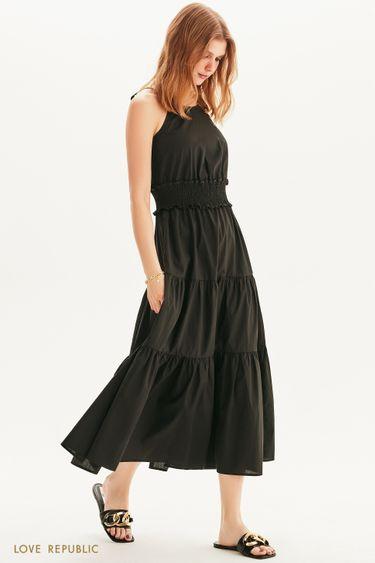 Платье-макси с акцентной юбкой 1255004510
