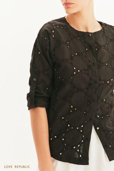 Блузка с перфорацией и вышивкой ришелье 1255020321